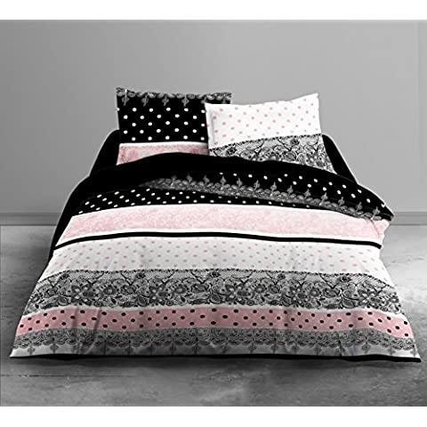 Hoy 015953Boudoir Juego de ropa de cama, 240x 220cm, funda de edredón/funda de almohada algodón rosa/negro/blanco