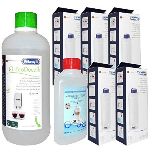 5 Stück DELONGHI Wasserfilter C002 + 1 Stück Entkalker 500ml + Stück AquinTobs Milchreiniger 250ml