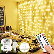 Holahoney Fairy Window Curtain Lights Battery USB Powered, Curtain of String Lights with Remote, 300 LED Indoo