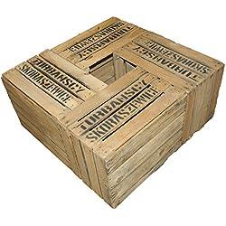 Kistenkolli Altes Land - Juego de 4cajas de madera, cajas de fruta, manzanas, vino, etc., tamaño grande, tamaño 49x 42x 31cm