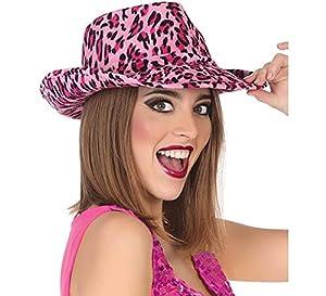 Atosa-34976 Sombrero Oeste Estampado Animal, Color Fucsia, única (34976