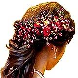 Contever® 1 pz Fiore Rosso Fermacapelli capelli Pin Forcine Lady Donne Capelli Accessorio Acconciatura Sposa