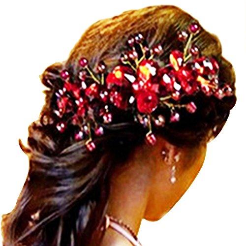 Contever® 1 Pieza Rojo de La Flor Horquilla Clip de La Joyería Nupcial del Partido de Boda Hecha A Mano Barrettes Cluster del Pin de Pelo de Las Mujeres