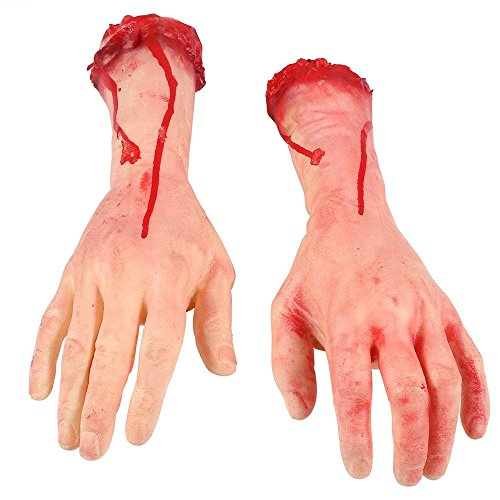 ONEDONE Terror Severed Bloody Fake Arms Hands for Halloween Körperteile Party and Cosplay (1 Paar)
