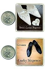 Idea Regalo - Oaktree Gifts - Monete sixpence portafortuna per lo sposo e la sposa, idea tradizionale per le scarpe degli sposi, 2 pezzi Dono portafortuna per i futuri sposi, come ricordo del giorno del matrimonio.
