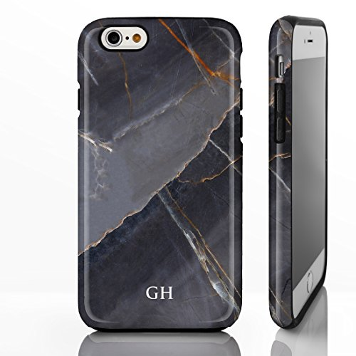 Personlisierter Marmor mit aufgedrucktem Namen oder Initialen Hüllle mit natürlichem Steinglanz für iPhone Modelle. Designs von iCaseDesigner., plastik, Marble 3: Natural Brown Marble, iPhone 7 - Slim Marble 6: Grey Marble