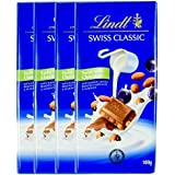 Lindt Swiss Classic Milk Chocolate With Raisins & Gently Rosted Nuts 100gm (Pack of 4) _ BUY 1 GET 1 ABSOLUTELY FREE