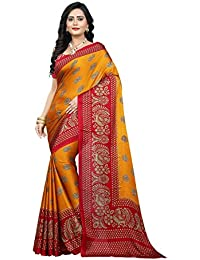 Jaanvi Fashion Women's Peackock Printed Crepe Silk Kalamkari Printed Saree (designer-saree-2018-yellow)