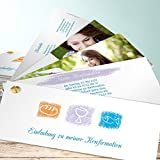 Einladungen Konfirmation Vorlagen, Weinkelch 200 Karten, Kartenfächer 210x80 inkl. weiße Umschläge, Orange