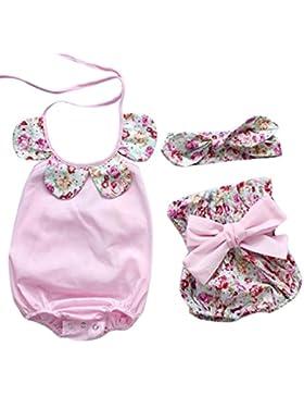 Baby sets Koly_Infante appena nato della neonata floreale pagliaccetto Tops + Bow dei pantaloni di bicchierini...