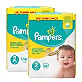 Pampers New Baby Windeln Jumbo Pack, Größe 2, 2 x 68 Pack