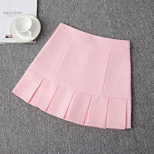 HEHEAB Rock,Rosa Mit Hoher Taille Plissee Lolita A-Line Office Frauen Röcke Girls Denim Röcke Sailor Mini Röcke Japanische Schule Rüschen, XL -