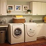 Ihre Taschen Überprüfen–VINYL Wand Aufkleber Aufkleber für Waschküche Waschmaschine D ¨ ¦ cor, Customized-colors, 11'h x18'w