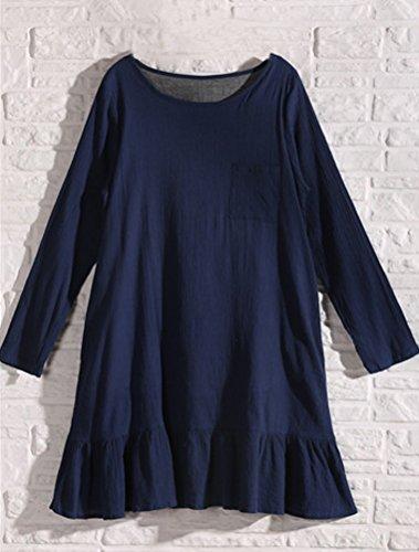 MatchLife Femme O-Cou Manche Longues Robe Bleu Royal