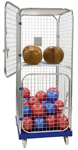 LKE Ballwagen abschließbar Transportwagen für Volleyball Basketball Fußball 1650 mm Allzweckwagen Gitterwagen geschlossen (1 LKE Ballwagen ohne Zwischenboden)