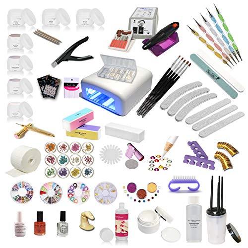 Nagelstudio Starterset UV Gel Set Inkl. Nagelfräser UV Lampe Nailart ist ein ideales Gel Nagel Set für künstliche Fingernägel und Anfänger mit UV Farbgel, Nail Art, Nail Polish, French Nails Basic