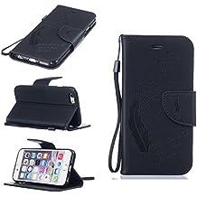Boxtii - Funda para iPhone 6/6S, piel y silicona, tipo libro, con ranuras para tarjetas, función soporte, cierre magnético y diseño de pluma, incluye 1protector de pantalla de vidrio templado, piel sintética, #5 Black, Apple iPhone 6 Plus / iPhone 6s Plus
