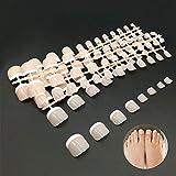 Zehennägel, Falsche Zehennägel Set, Künstliche Toe Nail Tips Hellrosa -Nageldesign Display Nail Art Display (24 x 5 Stück -12 Abmessungen)
