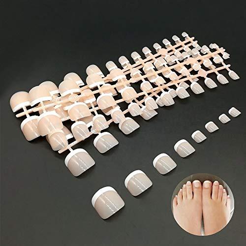 Zehennägel, Falsche Zehennägel Set, Künstliche Toe Nail Tips Hellrosa -Nageldesign Display Nail Art Display (24 x 5 Stück -12 Abmessungen) - Zehennagel-kunst