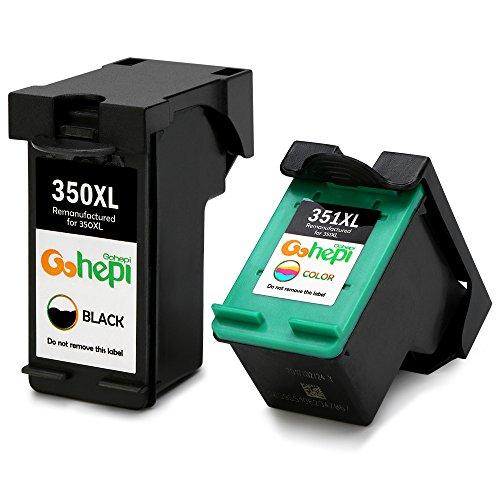 Gohepi 350XL/351XL Compatible para Cartuchos de tinta HP 350XL 351XL, 1 Negro/1 Tri-color Juego de 2 Trabajar con HP Officejet J6424 J5780 J5785, HP Photosmart C4280 C4340 C4380 C5280 C4424 C4480 C4580 C4524 D5360, HP Deskjet D4260 D4360