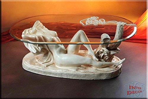 InterDecorShop Neuheit Designer Couchtisch Sexy Lady White Wohnzimmertisch Tisch Glastisch Luxusmöbel