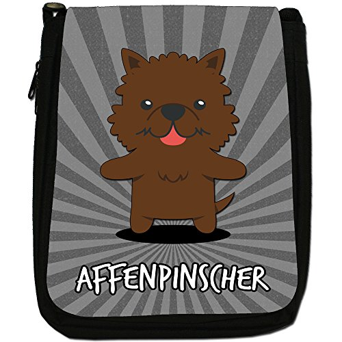 Tedesco Cartoon cani medium nero borsa in tela, taglia M Affenpinscher, Monkey Dog