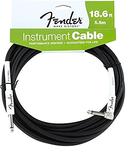 Fender Performance Series 18.6ft / 5.5M Angled Electric Bass Guitar Jack Cable