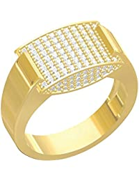 Spangel Fashion Designer 18 Ct. Gold Plated American Diamond Jewellery Ring For Men - B077VPCGYD