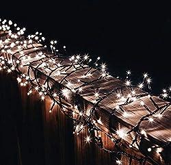 gresonic-Led-Cluster-10m lang-Lichterkette-Strombetrieb Deko für Innen Außen Garten Weihnachtsbaum Hochzeit (Warmweiss Dauerlicht, 500LED)