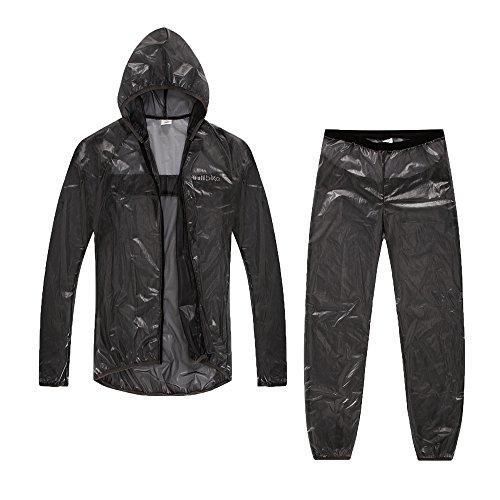 Leichte Radfahren Regen Jacke und Hose Set Hood Reflective Damen/Herren Gr¨¹n/Grau
