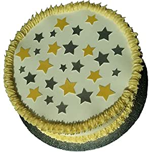 Pack of 48 Edible Wafer Decorations - Random Gold & Silver Stars 201-712