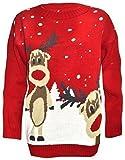Damen Pullover Weihnachtsmotiv Zwei Rentiere 4 Farben Verschiedene Größen - XL, Rot