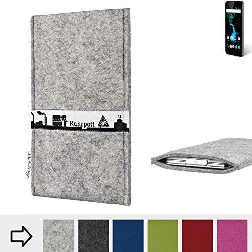 flat.design für Allview P6 Pro Schutzhülle Handytasche Skyline mit Webband Ruhrpott - Maßanfertigung der Schutz Tasche Handycase aus 100% Wollfilz (hellgrau) für Allview P6 Pro