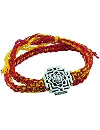 fourseven 925 Sterling Silver Red & Yellow Lotus Mandal Moli Threads Bracelet For Men