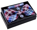 Retreez Herren Gewebte vorgebundene Fliege Elegante Tartan Plaid Karo 13 cm und Einstecktuch und Manschettenknöpfe im Set, Geschenkset, Weihnachtsgeschenke - burgunder, weinrot und blau
