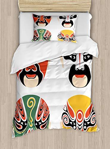 Top Kostüm Dramen - ABAKUHAUS Kabuki-Maske Bettbezug Set Einzelbett, Drama Kostüme, Kuscheligform Top Qualität 2 Teiligen Bettbezug mit 1 Kissenbezüge, Mehrfarbig