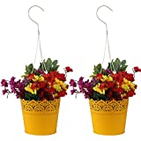 #9: Wonderland Set of Two, Hanging Metal Lace planter / pot / container in Yellow (home , garden decor , balcony, gift item)