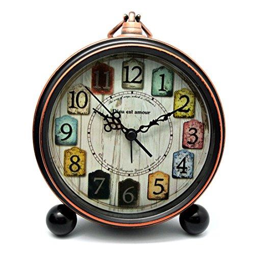 WEIZQ Analoge Wecker, Vintage Lautlos Wecker ohne Ticken Antik Tischuhr Standuhr Uhr Wecker Table Clock für Haus Dekoration PW550-25