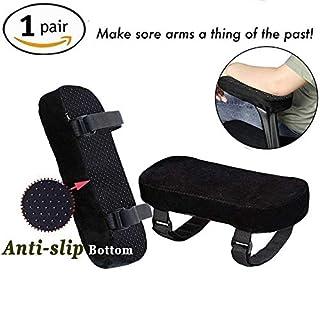 OOAGE Stuhl Memory Foam Armlehne Pads seidig glatte Oberfläche Bezug kann reduzieren die Druck der elbow-super Ellenbogenbandage, Schwarz (2-teiliges Set) - S
