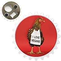 Chicken with Sign I Love Vegans Bottle Opener Fridge Magnet