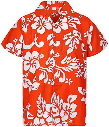 Funky Hawaiihemd, Hibiskus, orange, - Surfer Girl Kostüm