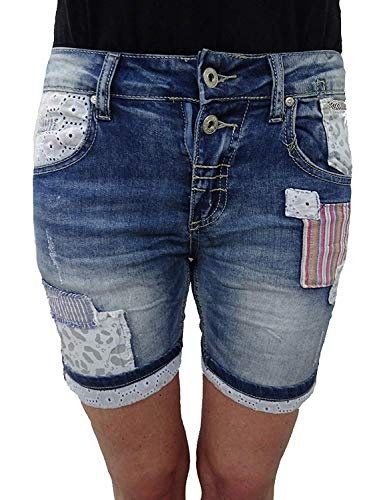 Place du Jour Denim Krempel Baggy Boyfriend Damen Stretch Shorts Flicken Patches Patch Denim S-36