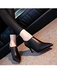 Mujer-Tacón Stiletto-Confort-Tacones-Informal-Cuero de Cerdo-Negro Rojo Gris , us8 / eu39 / uk6 / cn39