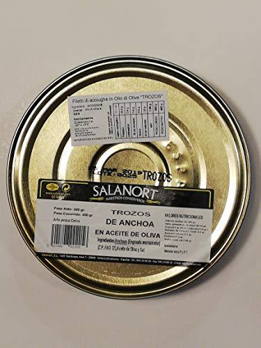 Filetti non interi di acciughe del Mar Cantabrico 500g Salanort.8 mesi di maturazione in botte di salatura e poi preparate da artigiani esperti che le rendono un prodotto straordinario. solo 3g sale