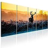 murando Bilder Hirsch 225x90 cm - Vlies Leinwandbild - 5 Teilig - Kunstdruck - Modern - Wandbilder XXL - Wanddekoration - Design - Wand Bild - Natur Tier Landschaft g-B-0047-b-n