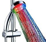 Duschkopf LED Handbrause mit Licht 7 Farben | Bunte Farbwechsel | Starke Wasserturbine | Duschbrause Brausekopf Dusche