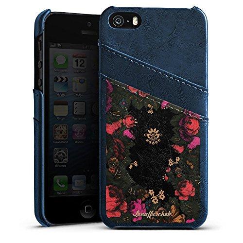 Apple iPhone 5 Housse étui coque protection Lena Hoschek Motif floral Fashionweek Étui en cuir bleu marine