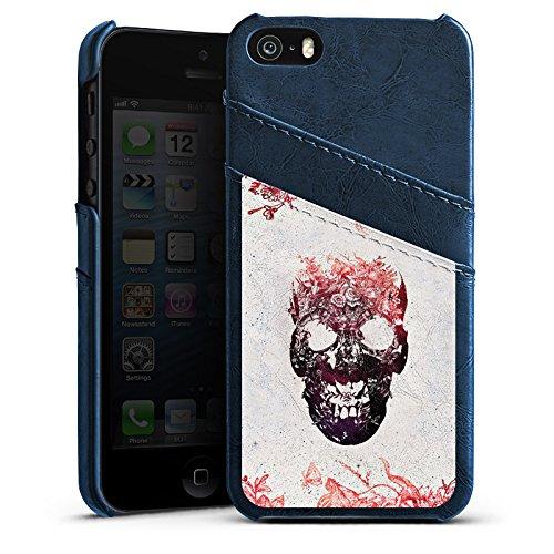 Apple iPhone 5s Housse Étui Protection Coque Tête de mort Crâne Crâne Étui en cuir bleu marine