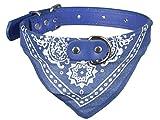 Scarlet pet | Hundehalsband »Paisley« mit Dreieckstuch/Bandana; einfach cool; Diverse Farben und Größen (M: 38 cm, Blau)