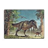 MyDaily-Lustiger 3-D-Dinosaurier-Vorleger, ca. 122 x 162 cm, für Wohnzimmer, Schlafzimmer, Küche usw., dekorativ bedruckter Teppich aus leichtem Schaumstoff , Polyester, multi, 4' x 5'3